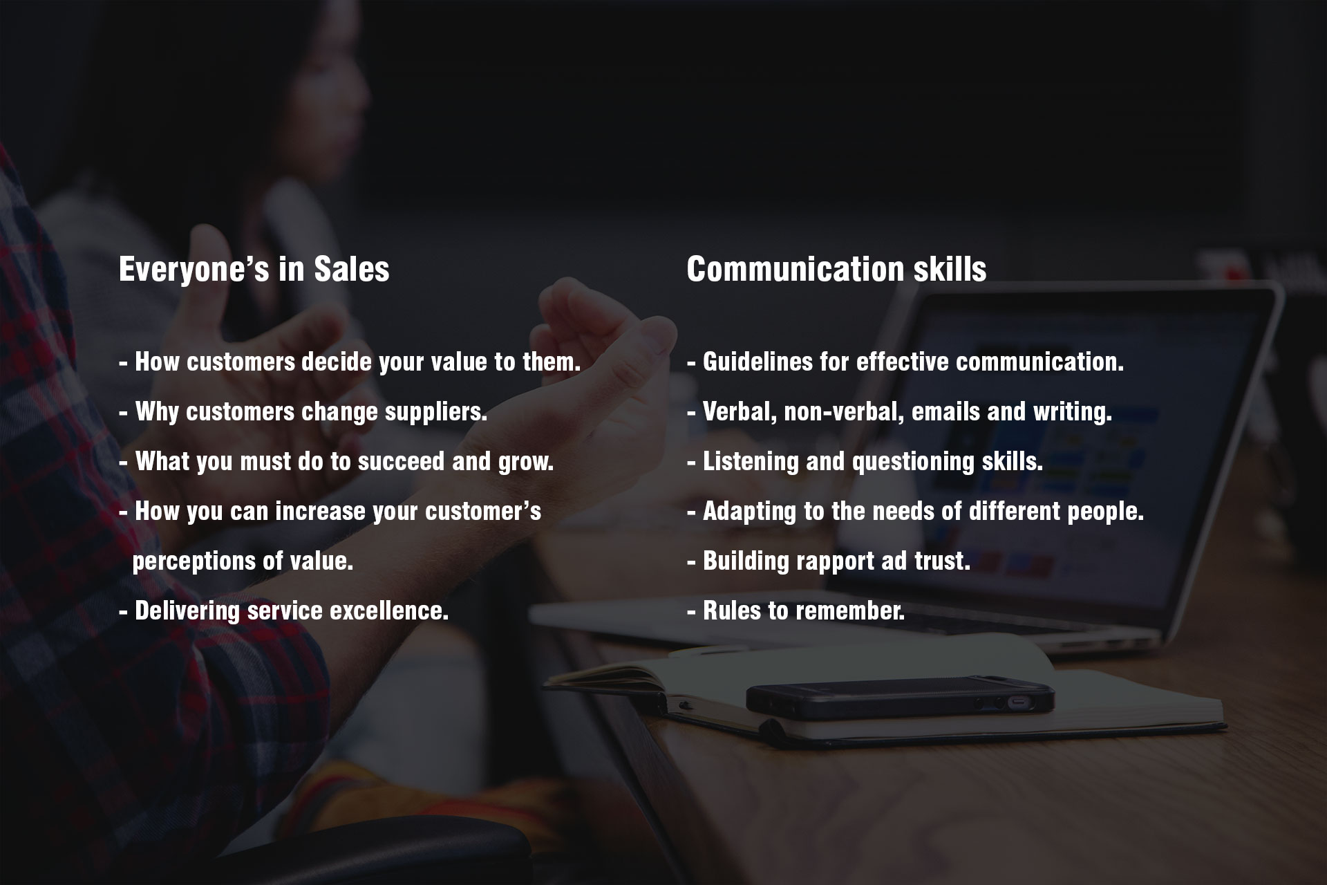 Everyone's in sales and communication skills modules and tools